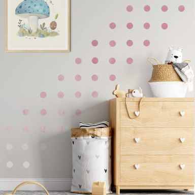 Wall sticker set Dots - Dusty Pink (50 stickers)