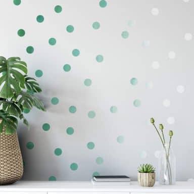Wandtattoo Watercolor Punkte Set ombre-grün (50-teilig)