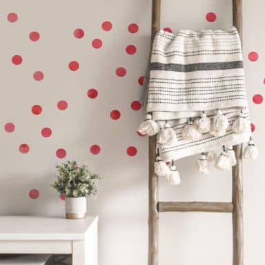 Wall sticker set Dots - Red (50 stickers)