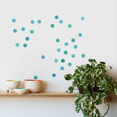 Wandtattoo Watercolor Punkte Set türkis (50-teilig)
