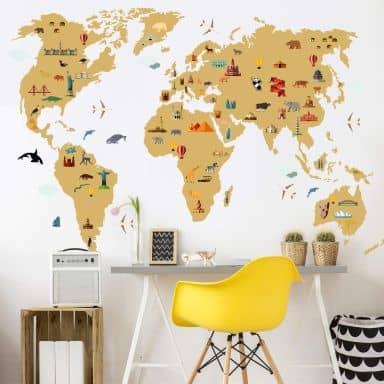 Muursticker Wereldkaart - Travel the World