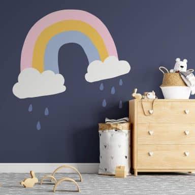Wandtattoo Wolken mit Regenbogen