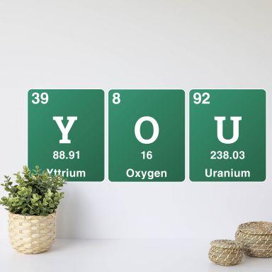 Wandtattoo You - Wort aus dem Periodensystem