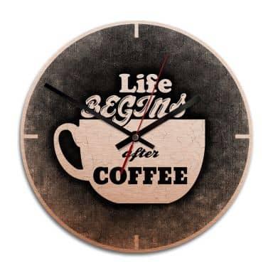 Wanduhr Alu-Dibond-Kupfereffekt - Life begins after coffee - Ø 28 cm