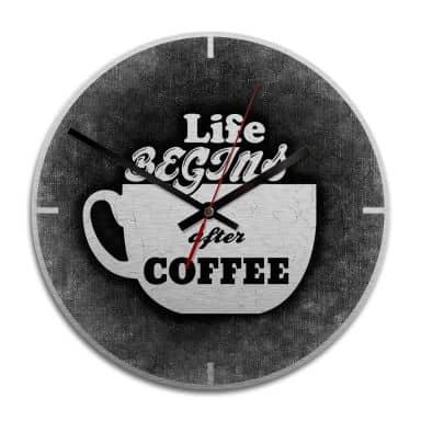 Wanduhr Alu-Dibond-Silbereffekt - Life begins after coffee - Ø 28 cm