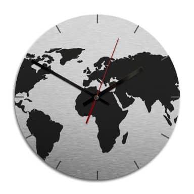 Wanduhr Alu-Dibond-Silbereffekt - Weltkarte - Ø 28 cm