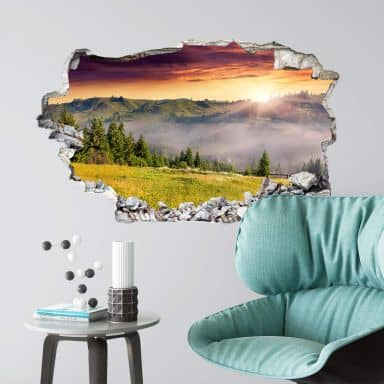 3D wall sticker Foggy mountains
