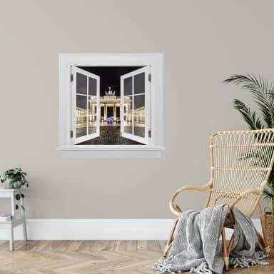 3D Wandtattoo Fenster quadratisch - Brandenburger Tor