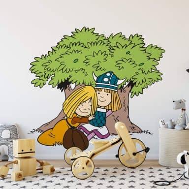 Wandtattoo Wickie und Ylvi Baum