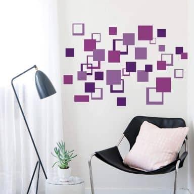 Wandsticker Abstrakt Vierecke Violet
