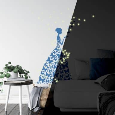 Lady with Butterflies + Glow in the Dark Butterflies Wall Sticker