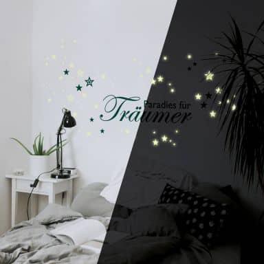 Wandtattoo Paradies für Träumer + Leuchtsterne