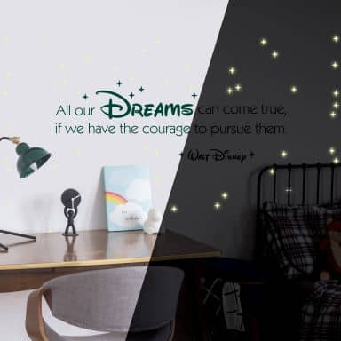 All our dreams Wall Sticker + Glow in the Dark Stars