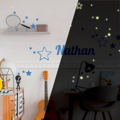 Wandtattoo + Name Sterne + Leuchtsterne