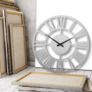 Horloge murale XXL en Alu-Dibond - Argentée- Classique - Ø 70 cm