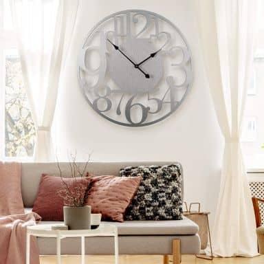 Horloge murale XXL en Alu-Dibond - Argenté - Moderne - Ø 70 cm