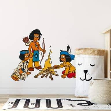 Sticker mural - Yakari - Feu de Camp