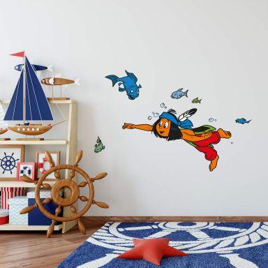 Sticker mural - Yakari plonge avec des poissons