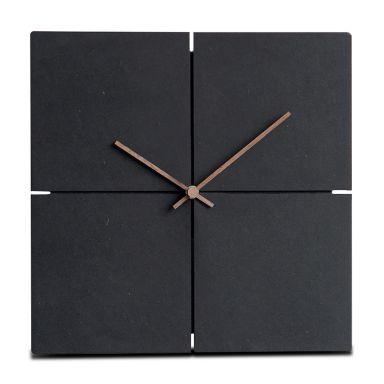 Moderne Wanduhr schwarz MDF Walnuss Holzzeiger - quadratisch - 30x30 cm