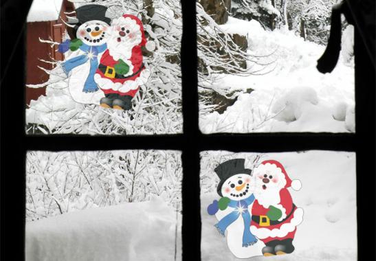 fensterbild schneemann und weihnachtsmann f r glasscheiben. Black Bedroom Furniture Sets. Home Design Ideas