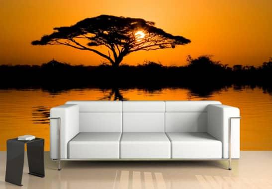 fototapete africa afrikanische savanne im sonnenuntergang wall. Black Bedroom Furniture Sets. Home Design Ideas
