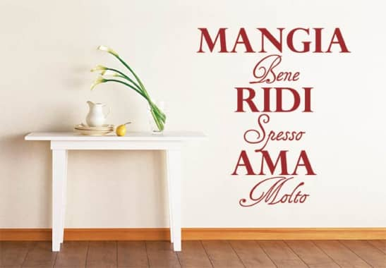 wandtattoo mangia bene ridi spesso ama molto italienische dekoration wall. Black Bedroom Furniture Sets. Home Design Ideas