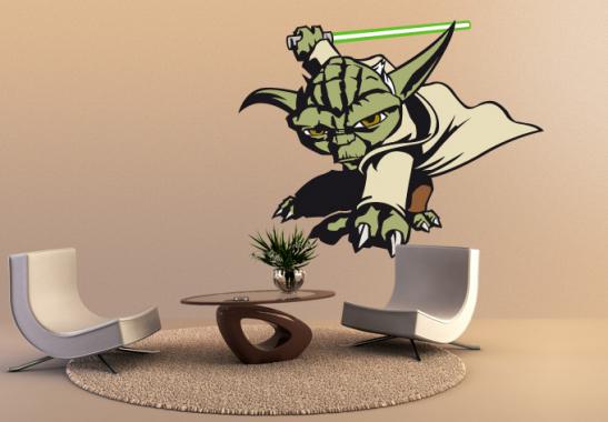 wandtattoo star wars clone wars clone wars yoda als. Black Bedroom Furniture Sets. Home Design Ideas