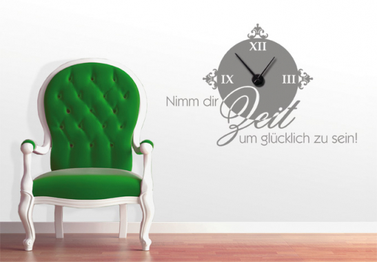 wandtattoo uhr nimm dir zeit um gl cklich zu sein sch ne wanduhr wall. Black Bedroom Furniture Sets. Home Design Ideas