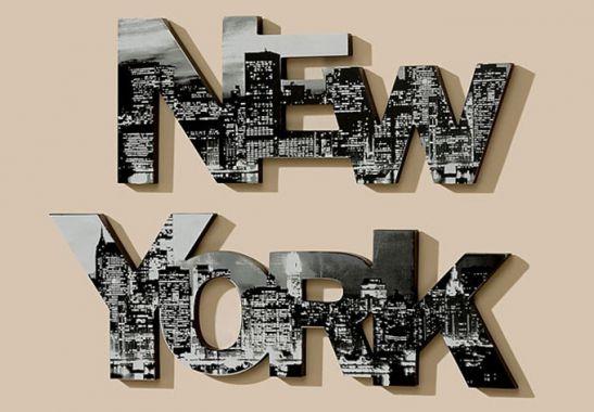 lettere decorative new york wall. Black Bedroom Furniture Sets. Home Design Ideas