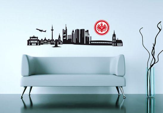 wandtattoo eintracht frankfurt skyline mit logo farbig. Black Bedroom Furniture Sets. Home Design Ideas