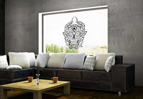 exotisches fensterbild mexikanische totenmaske von miami ink exklusiv bei k l wall art wall. Black Bedroom Furniture Sets. Home Design Ideas