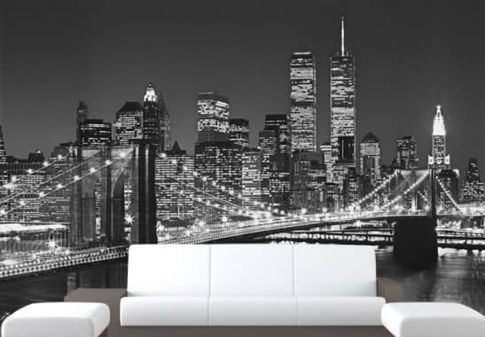 fototapete papiertapete brooklyn bridge die fantastische skyline von new york als riesige. Black Bedroom Furniture Sets. Home Design Ideas