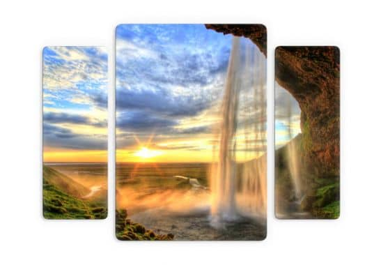3 teiliges glasbild seljalandsfoss wasserfall von k l wall. Black Bedroom Furniture Sets. Home Design Ideas