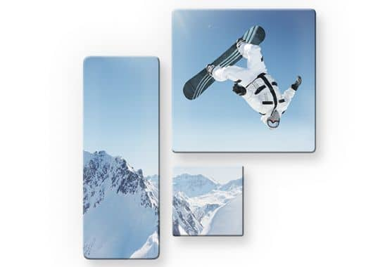 glasbilder snowboarder 3 teilig. Black Bedroom Furniture Sets. Home Design Ideas