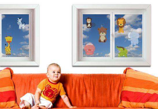 fensterbild kindertierpark tierbabys als fenster dekor. Black Bedroom Furniture Sets. Home Design Ideas