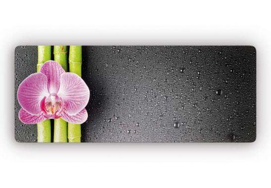 asiatische deko panorama glasbild orchidee und bambus. Black Bedroom Furniture Sets. Home Design Ideas