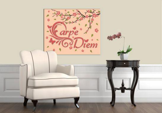 leinwanddruck mit spruch carpe diem als wandbild wall. Black Bedroom Furniture Sets. Home Design Ideas
