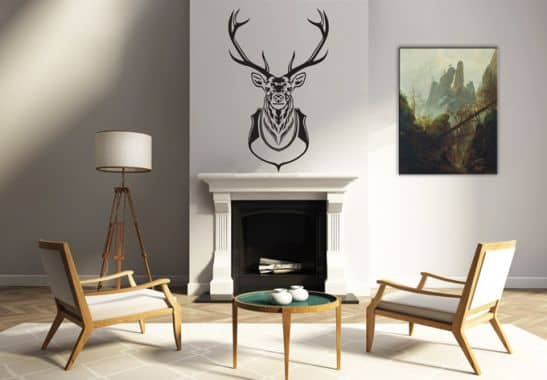 die klassische jagdtroph e als wandtattoo deko hirschgeweih wall. Black Bedroom Furniture Sets. Home Design Ideas