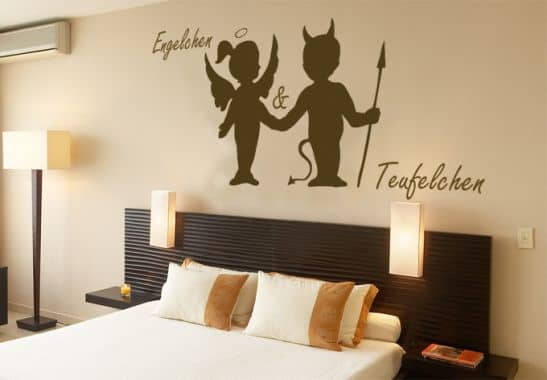 wandtattoo engelchen teufelchen der wandsticker f r schlafzimmer wall. Black Bedroom Furniture Sets. Home Design Ideas