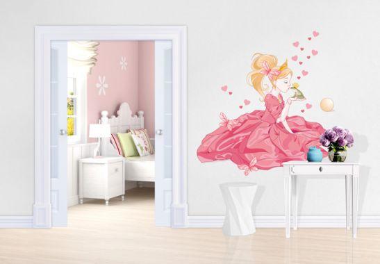 wandtattoo prinzessin froschk nig deko f r kleine prinzessinnen wall. Black Bedroom Furniture Sets. Home Design Ideas