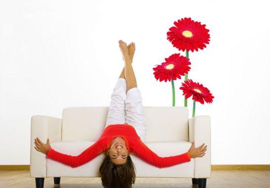 Wandtattoo Rote Blumen : Wandtattoo Gerbera  rote Blumen für die Wandgestaltung  wallartde