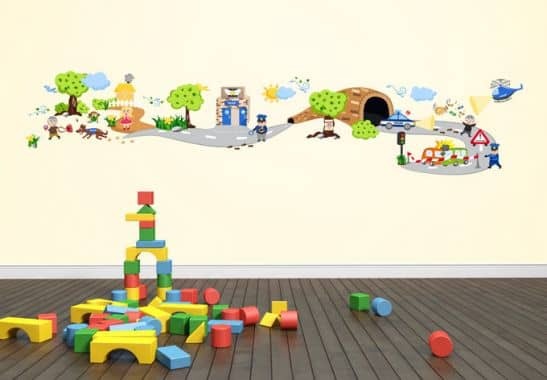 wandtattoo polizeit set lustige wanddeko f r das kinderzimmer wall. Black Bedroom Furniture Sets. Home Design Ideas