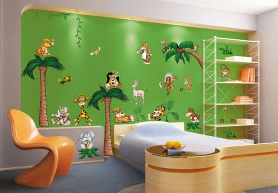 wandsticker crazy jungle kinderzimmer deko wall. Black Bedroom Furniture Sets. Home Design Ideas