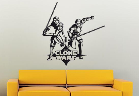 wandtattoo star wars clone wars anakin und obi wan als. Black Bedroom Furniture Sets. Home Design Ideas
