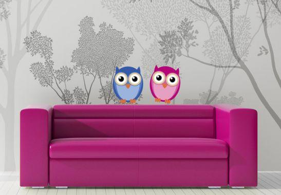 wandtattoos eule einstein und frau eule als dekoration wall. Black Bedroom Furniture Sets. Home Design Ideas