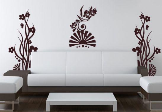 wandtattoo flower trilogy sch nes blumen ornament wall. Black Bedroom Furniture Sets. Home Design Ideas