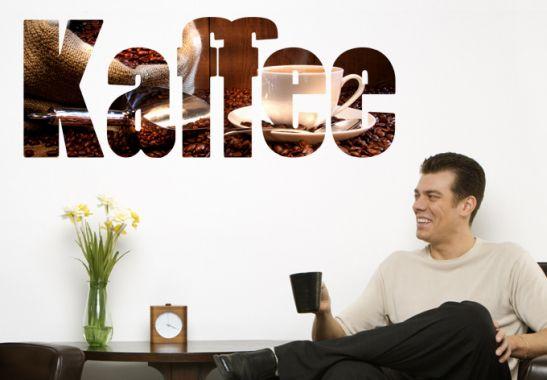 wandtattoo kaffee schriftzug f r alle genie er der dunklen kaffeebohne die richtige dekoration. Black Bedroom Furniture Sets. Home Design Ideas