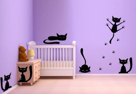 black cat set wall sticker wall. Black Bedroom Furniture Sets. Home Design Ideas