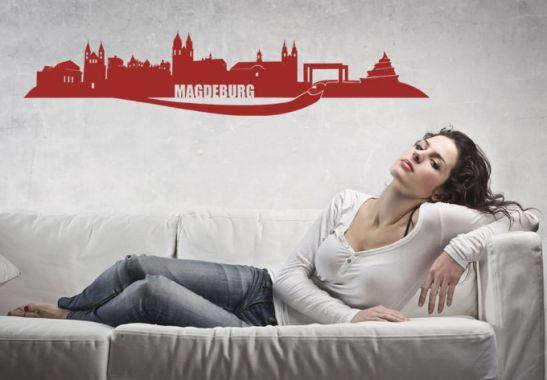 wandtattoo magdeburg skyline die skyline von magdeburg als wandbild wall. Black Bedroom Furniture Sets. Home Design Ideas