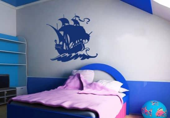 wandtattoo segelschiff piratenschiff f r jungs wall. Black Bedroom Furniture Sets. Home Design Ideas